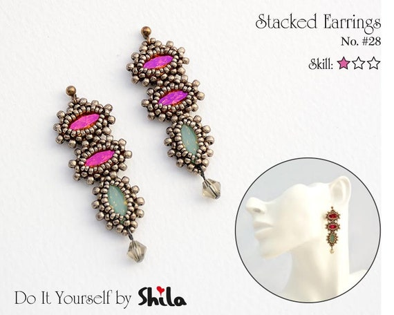 Beading Pattern Tutorial Step by step INSTANT download PDF - Stacked Earrings No 28