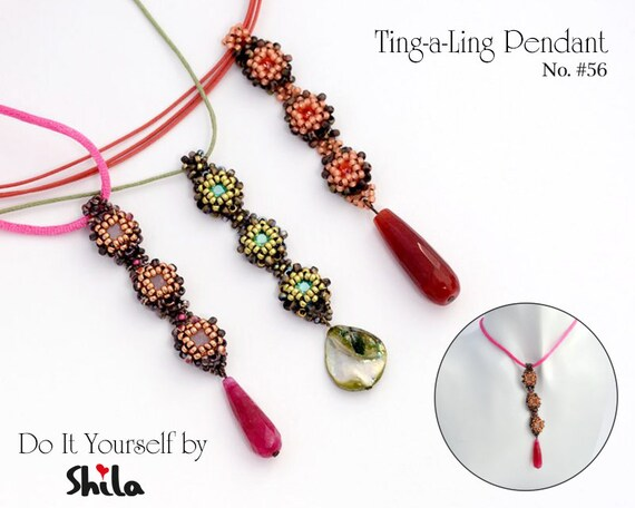 Beading Pattern Tutorial Step by step INSTANT download PDF - Ting-a-ling Pendant No 56
