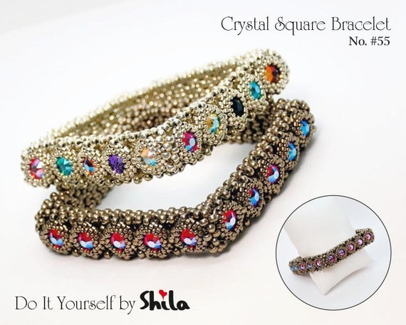 Beading Pattern Tutorial Step by step INSTANT download PDF - Crystal Square Bangle No 55