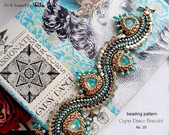 Beading Pattern Tutorial Step by step INSTANT download PDF - Gypsy Dance Bracelet No. 29