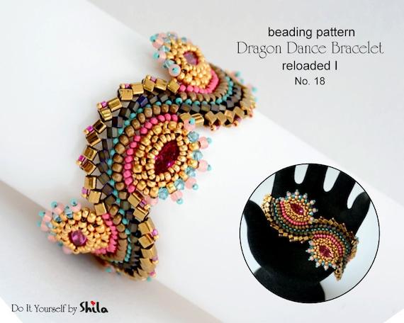 Beading Pattern Tutorial Step by step INSTANT download PDF - Dragon Dance Bracelet reloaded I. No 18