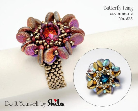 Beading Pattern Tutorial Step by step INSTANT download PDF - Butterfly asymmetric Ring No 25
