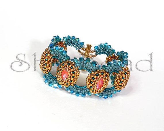Beading Pattern Tutorial Step by step INSTANT download PDF - Ripples Bracelet No 31
