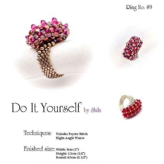 Beading Pattern Tutorial Step by step INSTANT download PDF - Asymmetric Ring II No 09