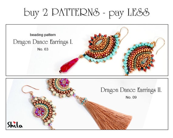 Beading Pattern Tutorial Step by step INSTANT download PDF - Dragon Dance Earrings No 63 & No 09