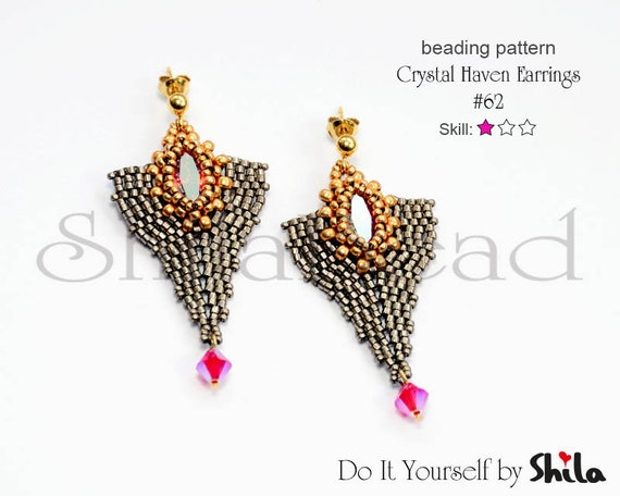 Beading Pattern Tutorial Step by step INSTANT download PDF - Crystal Haven Earrings No 62