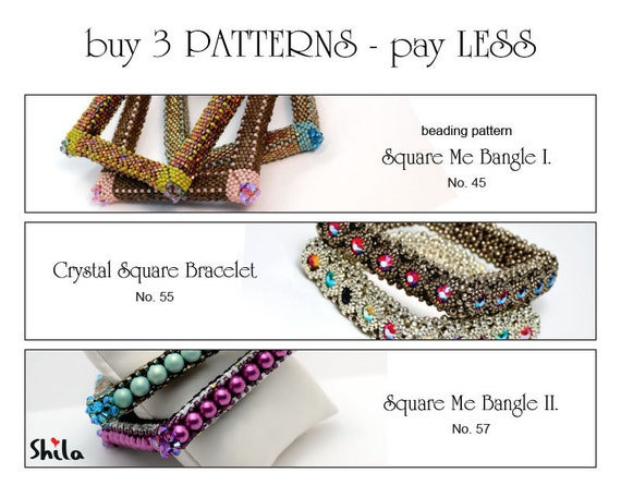 Beading Pattern Tutorial Step by step INSTANT download PDF - Pay LESS for 3 Beading Patterns No. 45 - No. 55 - No. 57