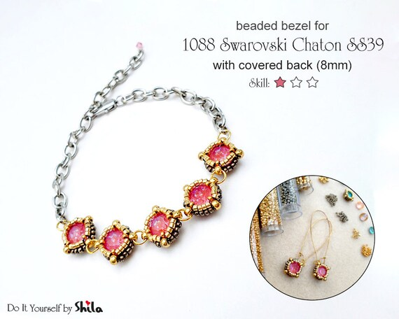 Beading Pattern -  Bezel with covered back for 1088 Swarovski Chaton SS39 8 mm Round Stone