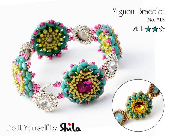 "Beading Pattern Tutorial Step by step INSTANT download PDF - ""Mignon"" Bracelet No 15"