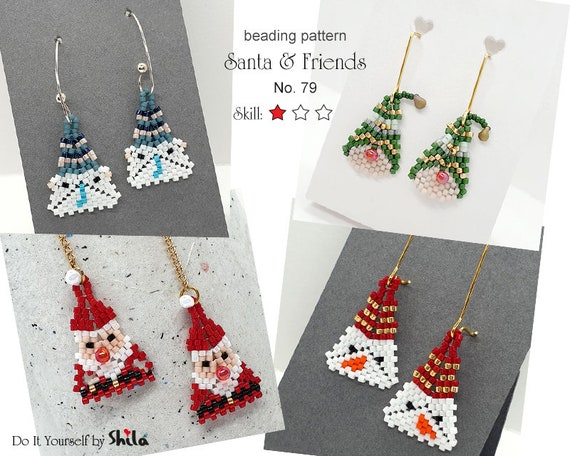 4 Beading Pattern Tutorial Step by step INSTANT download PDF - Beaded Charm - Santa & Friends No 79
