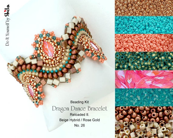 Beading Kit with Crystals Navette and Miyuki Cube Beads, Dragon Dance Reloaded II. Bracelet No 26 Lotus Pink/Hybrid Beige