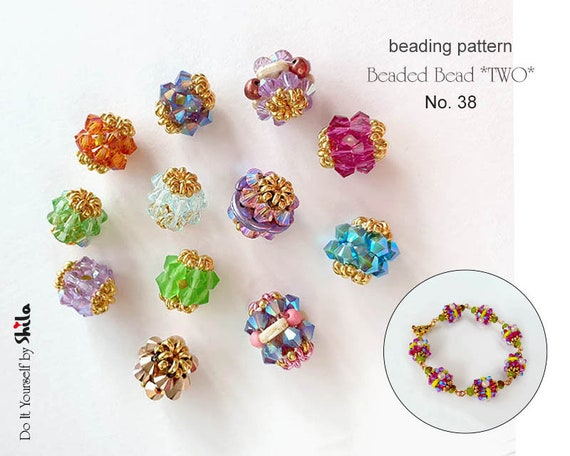 Beading Pattern Tutorial Step by step INSTANT download PDF - Beaded Bead *TWO* No 38