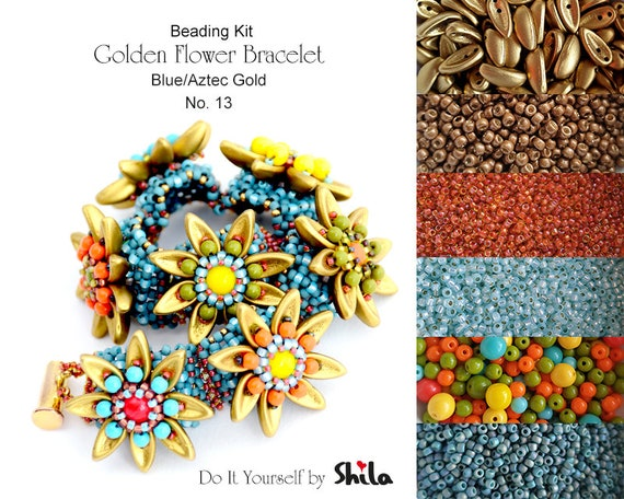 Beading Kit of Golden Flower Bracelet with Chilli beads No 13