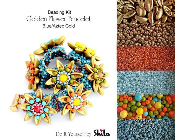 Beading Kit of Golden Flower Bracelet with Chilli beads No 13