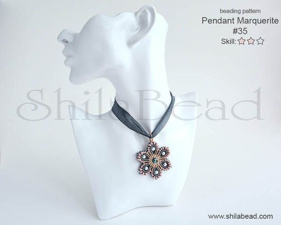 Beading Pattern Tutorial Step by step INSTANT download PDF - Pendant Marguerite No 35