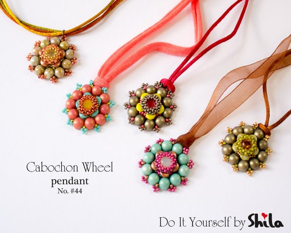 Beading Pattern Tutorial Step by step INSTANT download PDF - Cabochon Wheel Pendant No 44