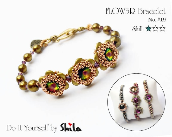 Beading Pattern Tutorial Step by step INSTANT download PDF - FLOW3R Bracelet No. 19
