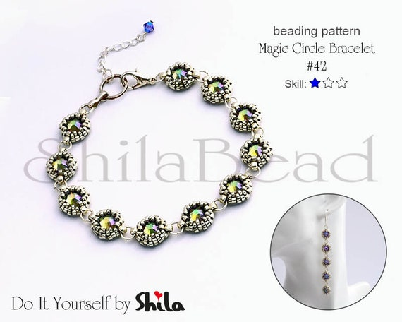 Beading Pattern Tutorial Step by step INSTANT download PDF - Magic Circle Bracelet No. 42