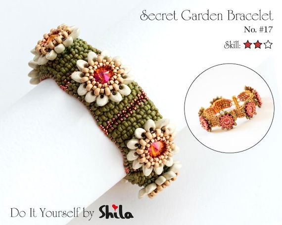 Beading Pattern Tutorial Step by step INSTANT download PDF - Secret Garden Bracelet No 17