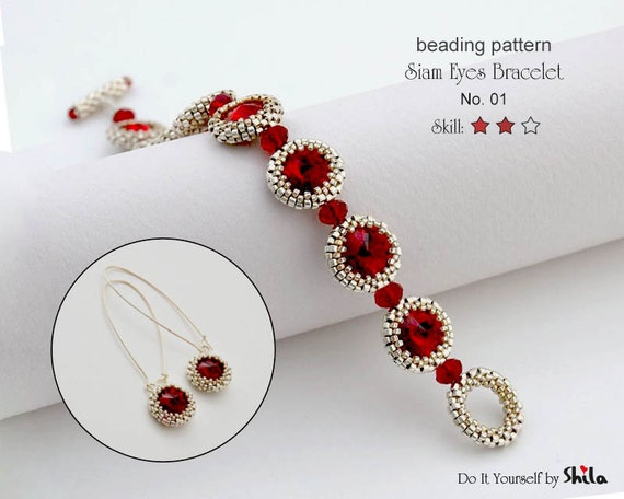 Beading Pattern Tutorial Step by step INSTANT download PDF - Siam Eyes Bracelet No 01