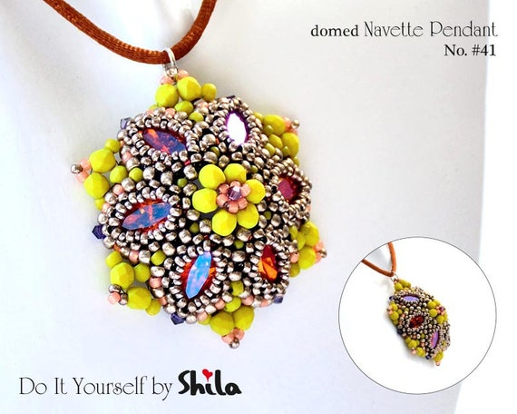 Beading Pattern Tutorial Step by step INSTANT download PDF - Flower Navette Pendant No 41