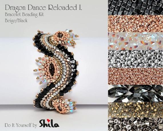Beading Kit with Japanese beads and Swarovski Navette 15x7 mm, Dragon Dance Reloaded I. Bracelet No 18 Black/Beige