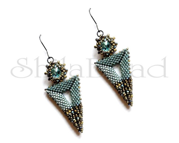 Beading Pattern Tutorial Step by step INSTANT download PDF - Bermuda Triangle Earrings No 51