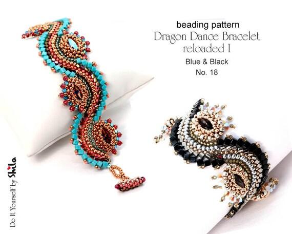 Beading Pattern Tutorial Step by step INSTANT download PDF - Dragon Dance Bracelet reloaded I. No 18 Blue & Black version