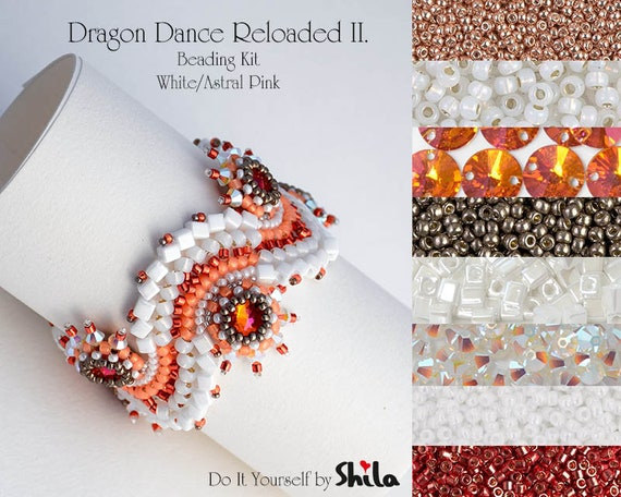 Beading Kit with Bezeled Swarovski Rivoli and Miyuki Cube Beads, Dragon Dance Reloaded II. Bracelet No 27 White/Astral Pink