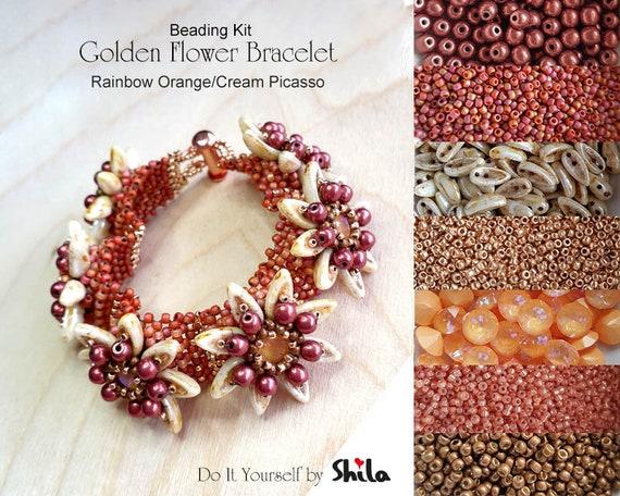 Beading Kit of Golden Flower Bracelet with Chilli beads No 13 Rainbow Orange/Cream Picasso