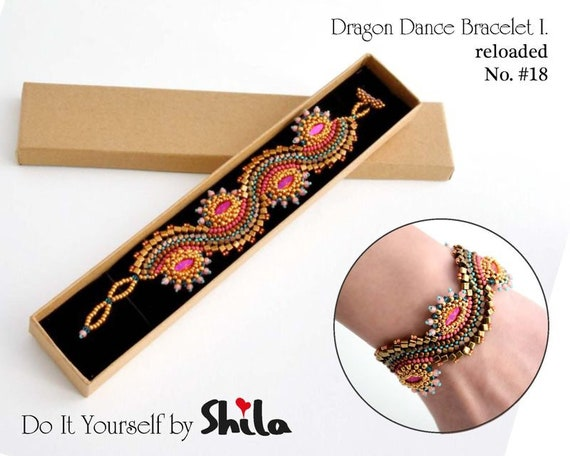 Beading Pattern Tutorial Step by step INSTANT download PDF - Dragon Dance Reloaded I. Bracelet No 18