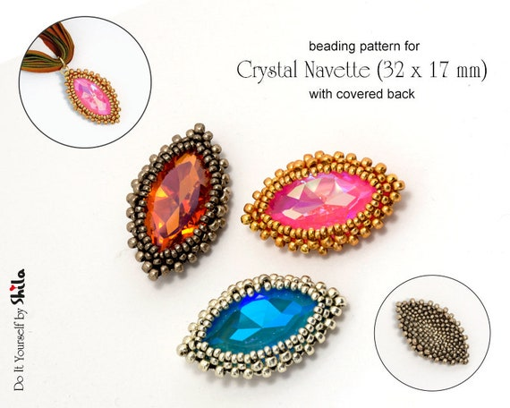 Beading Pattern -  RAW Bezel with covered back for Crystal Navette 32x17 mm