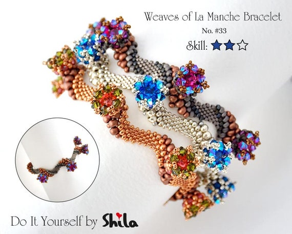 Beading Pattern Tutorial Step by step INSTANT download PDF - Waves of La Manche Bracelet with crystals rhinestones  No 33