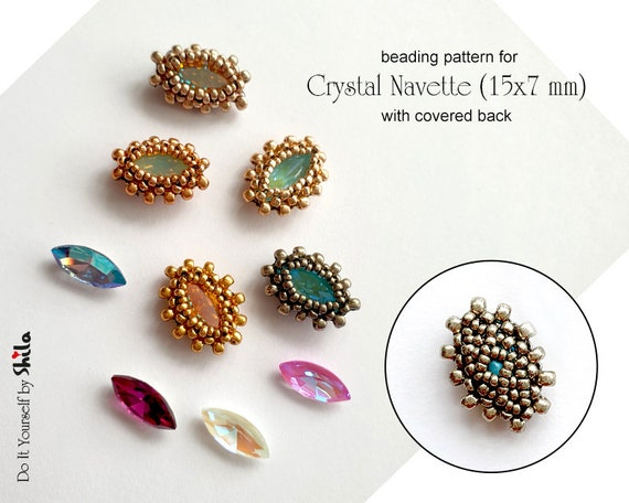 Beading Pattern -  RAW Bezel with covered back for Crystal Navette 15x7 mm