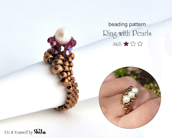 Beading Pattern Tutorial Step by step INSTANT download PDF -  Ring with Pearl No 05