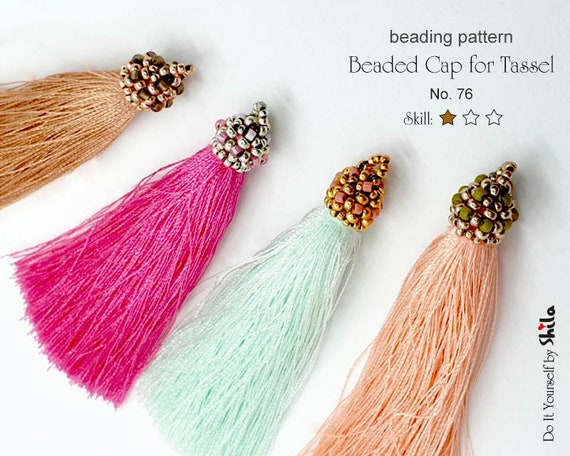 Beading Pattern Tutorial - Step by step INSTANT download PDF - Beaded Cap for Tassel - No 76