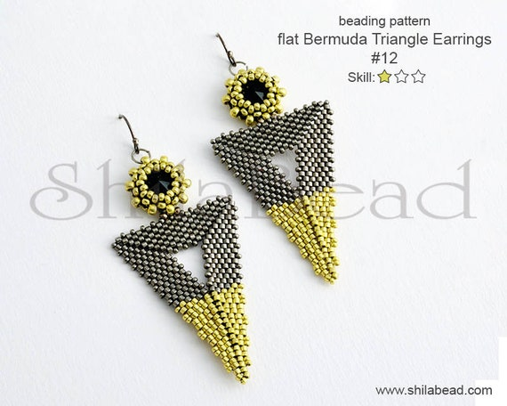 Beading Pattern Tutorial Step by step INSTANT download PDF - Flat Bermuda Triangle Earrings No 12