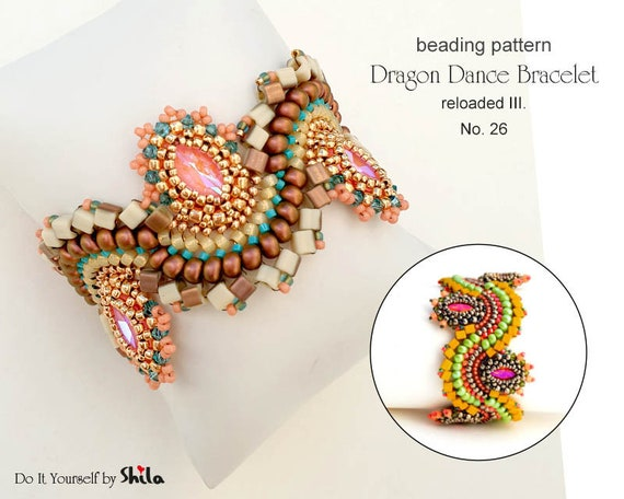 Beading Pattern Tutorial Step by step INSTANT download PDF - Dragon Dance Reloaded III. Bracelet No 26