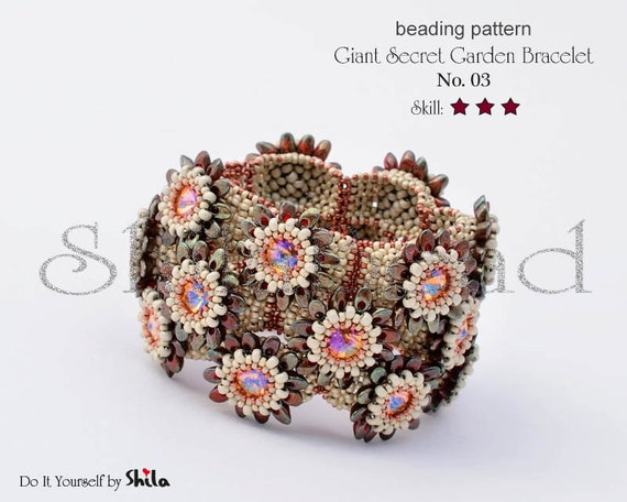 Beading Pattern Tutorial Step by step INSTANT download PDF - Giant Secret Gardens Bracelet No 03