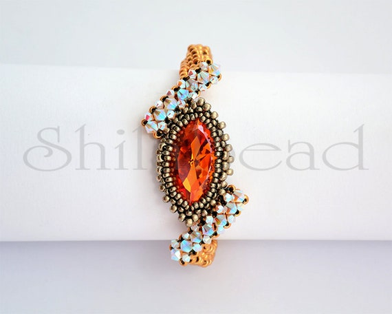 Beading Pattern Tutorial Step by step INSTANT download PDF - Curious Eye Bracelet with crystal cabochon No 64