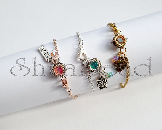 Beaded Jewellery - Bracelet with Swarovski Chaton SS29 6 mm Round Stone - Colour of your choice