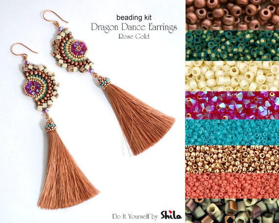 Beading Kit of Dragon Dance Reloaded II. Earrings No 63 Rose Gold