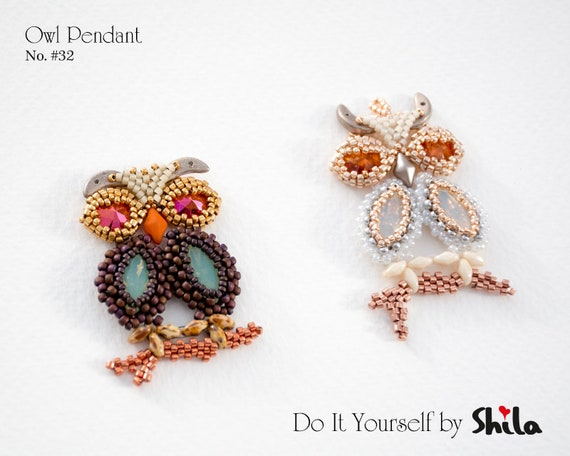 Beading Pattern Tutorial Step by step INSTANT download PDF - Owl Pendant No 32