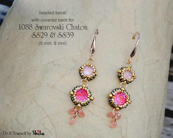 2 Beading Patterns - Bezel with covered back for 1088 Swarovski Chaton SS29 (6 mm) and SS39 (8 mm) Round Stones