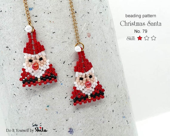 Beading Pattern Tutorial Step by step INSTANT download PDF - Beaded Charm - Christmas Santa No 79