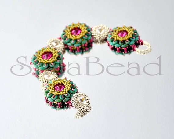 """Beading Pattern Tutorial Step by step INSTANT download PDF - """"Mignon"""" Bracelet No 15"""