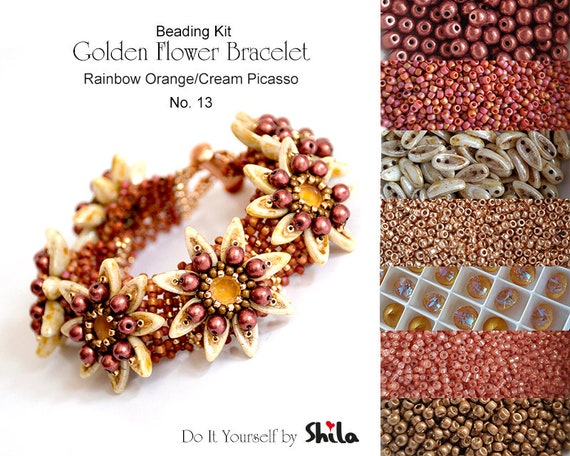 Beading Kit of Golden Flower Bracelet with Chilli beads No 13 Rainbow Orange/Cream Picasso