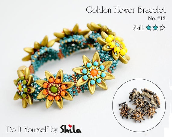 Beading Pattern Tutorial Step by step INSTANT download PDF - Golden Flower Bracelet with Chilli beads No 13