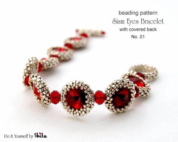 Beading Pattern Tutorial Step by step INSTANT download PDF - Siam Eyes Bracelet No 01