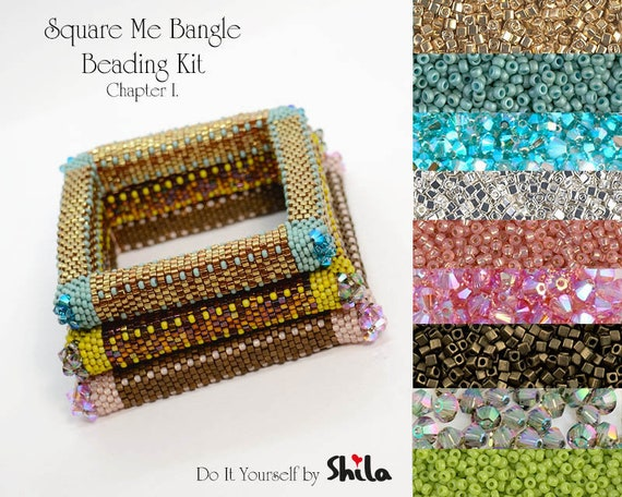Beading Kit with Miyuki Cube beads and Swarovski Bicones, Square Me Bangle No 45